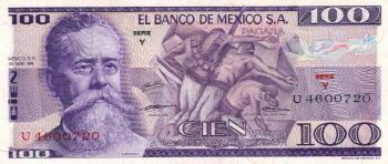 Mexico Cat # 66a 100 pesos