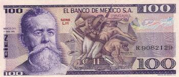 Mexico Cat # 68b 100 pesos