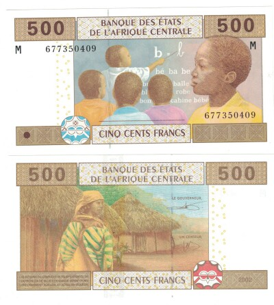 Central African Republic # 306M 500 francs (sign. pictured)