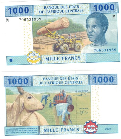Central African Republic # 307M 1000 francs (sign. pictured)