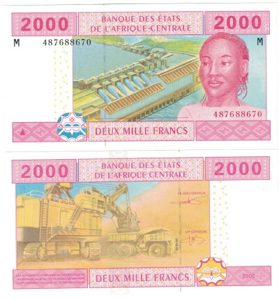 Central African Republic # 308M 2000 francs (sign. pictured)