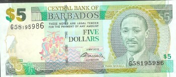 Barbados Cat # 67c 5 dollars