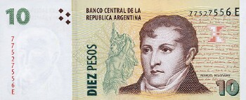 Argentina # 354 10 pesos (New Series J)