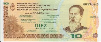 "Argentina ""Chaco"" Emergency Note 10 pesos"