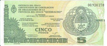 "Argentina ""Chaco"" Emergency Note 5 pesos"