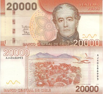 Chile Cat # 165 20,000 pesos