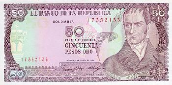 Colombia Cat # 425a 50 pesos oro