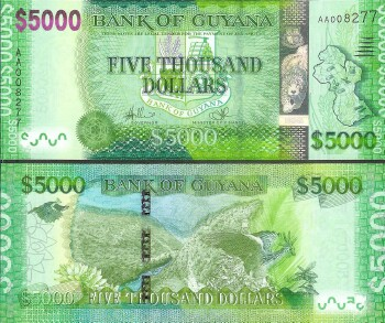 Guyana Cat #40 5000 dollars