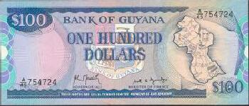 Guyana Cat # 28 100 dollars