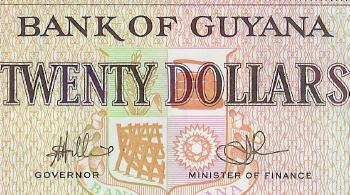 Guyana # 30e 20 dollars De La Rue printer