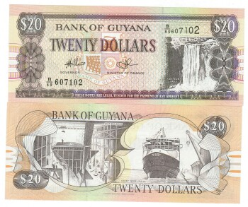Guyana # 30e 20 dollars 2010 Canadian Banknote printer